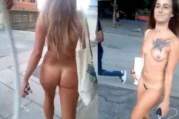 Atrevida andando pelada na rua causando muito