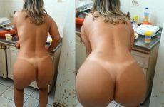 Esposa rabuda rebolando na cozinha pelada
