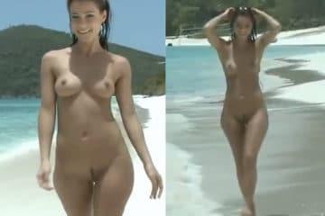 Gostosa andando pelada na praia